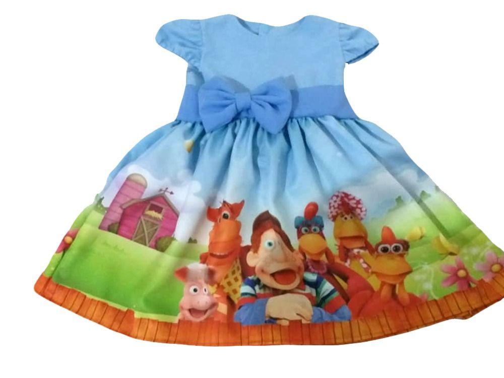 Vestido Cocoricó Infantil Menina Festa Aniversário Tam 01 Ao 06