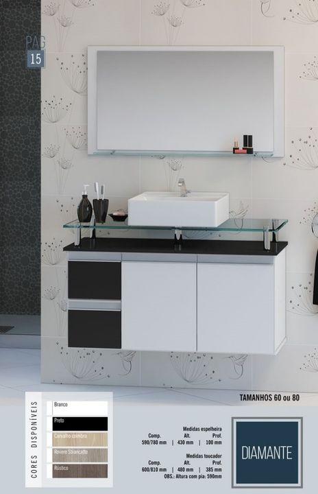 Gabinete De Banheiro Espelheira Diamante 80 Mdf Desapega