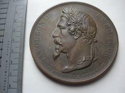 1852 Napoleão Imperador Bronze Medal 76Mm 232G Paris França