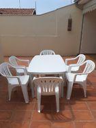 Mesa Plástica Pvc com 6 Cadeiras