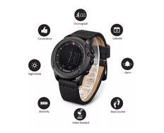 Relógio Digital Pulseira em Couro Original a Prova D'água