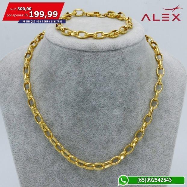 57a1164e3 Kit Corrente + Pulseira Banhada a Ouro 18K Cartier - Desapega