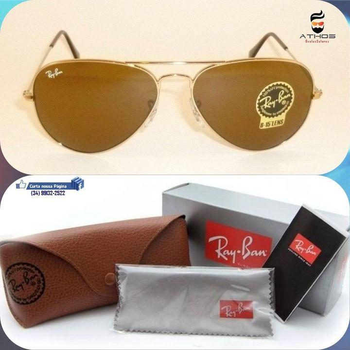 Óculos Ray Ban Aviador 3025 (Armação Dourada Lente Marrom) - Desapega 4a2bcdfcf8