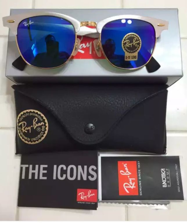 3cb9a94600fde ... Óculos Ray Ban Clubmaster Aluminio + Caixb,case de Couro e Tbm Flanela  ...