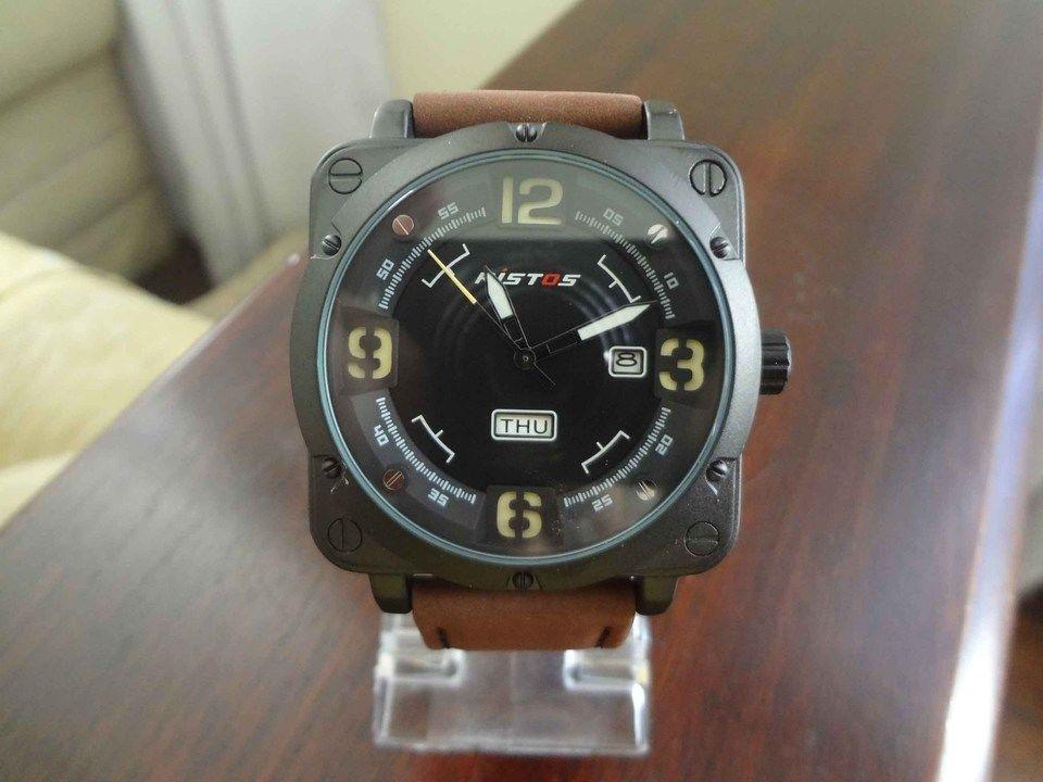 e8f00485733 Relógio Masculino Militar Luxuoso Quadrado Ristos À Prova D água 100 ...